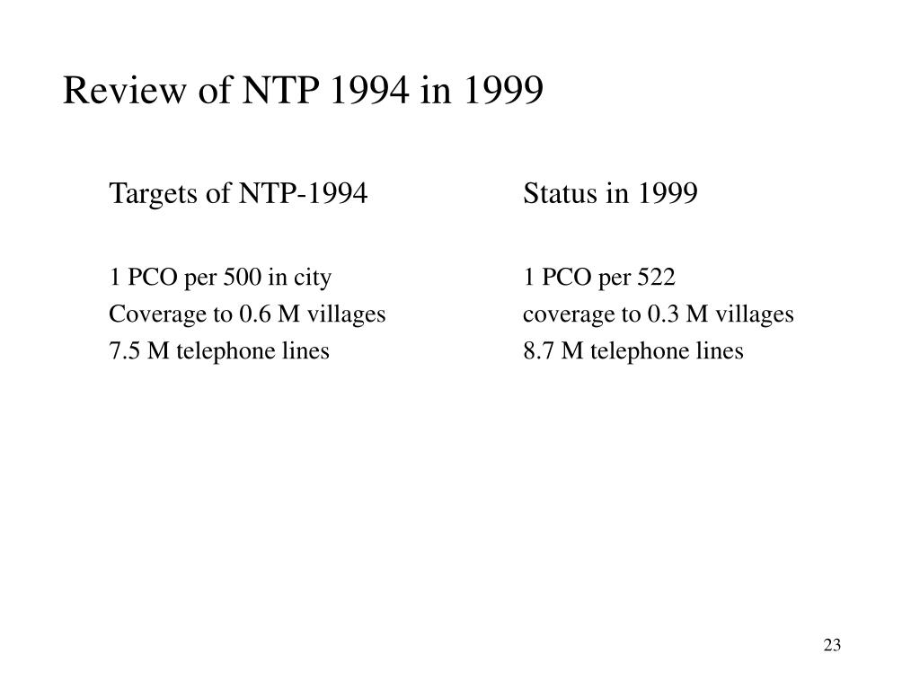 Review of NTP 1994 in 1999