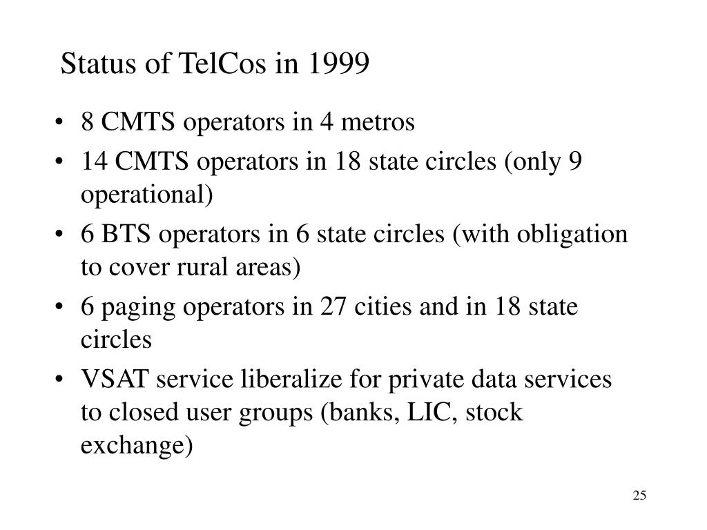 Status of TelCos in 1999