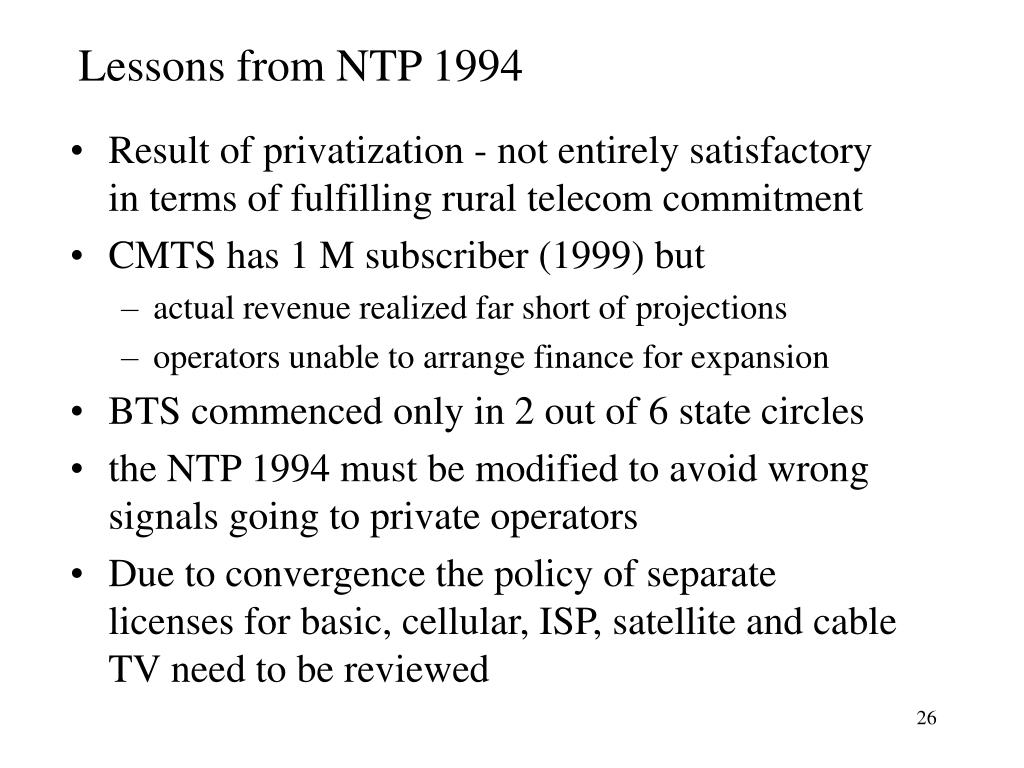 Lessons from NTP 1994