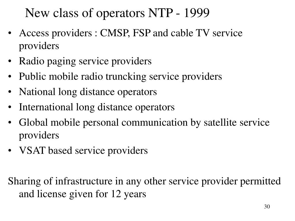 New class of operators NTP - 1999