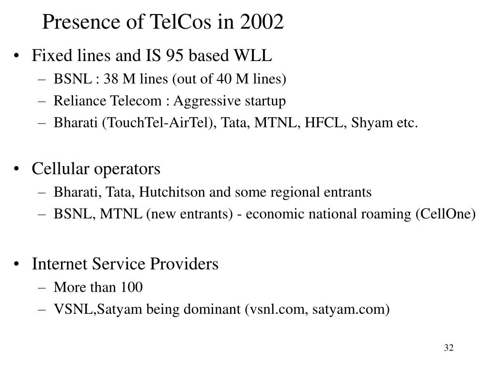 Presence of TelCos in 2002