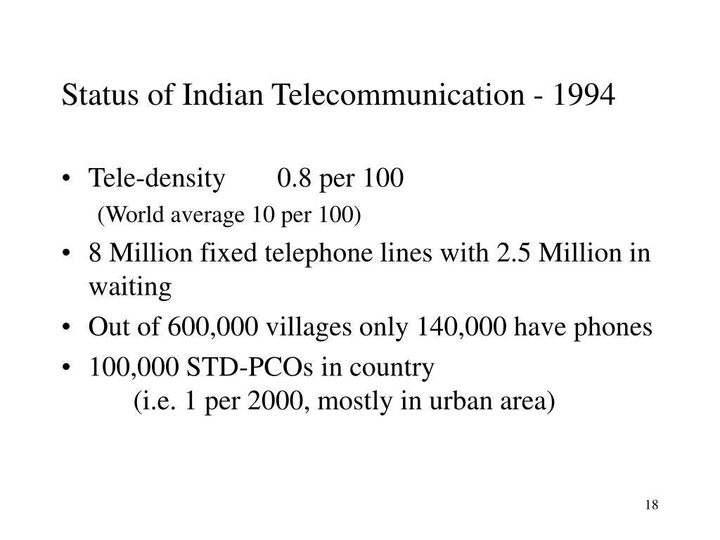 Status of Indian Telecommunication - 1994