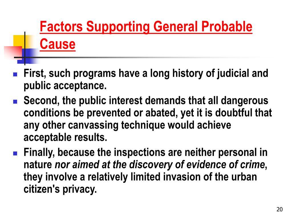 Factors Supporting General Probable Cause