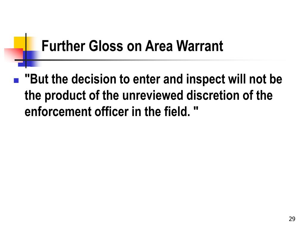Further Gloss on Area Warrant