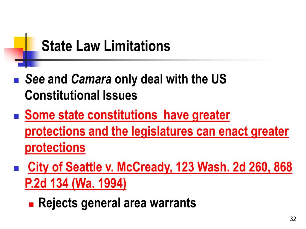State Law Limitations