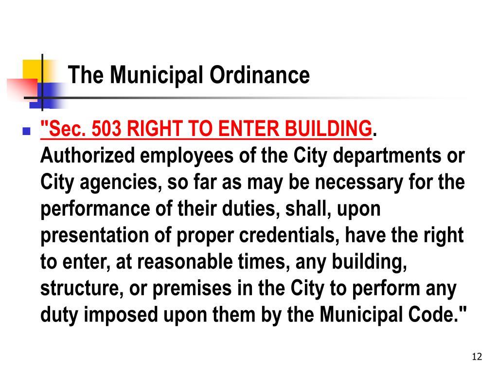 The Municipal Ordinance