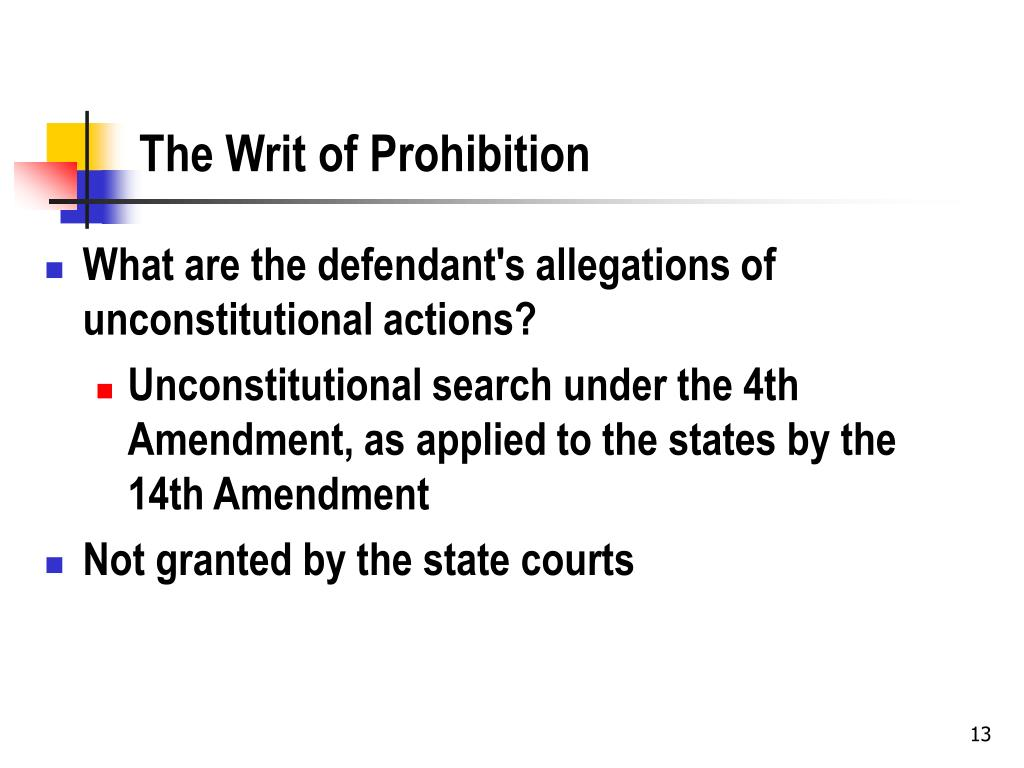 The Writ of Prohibition