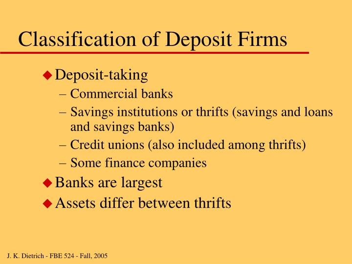 Classification of deposit firms