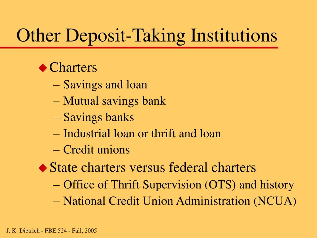 Other Deposit-Taking Institutions