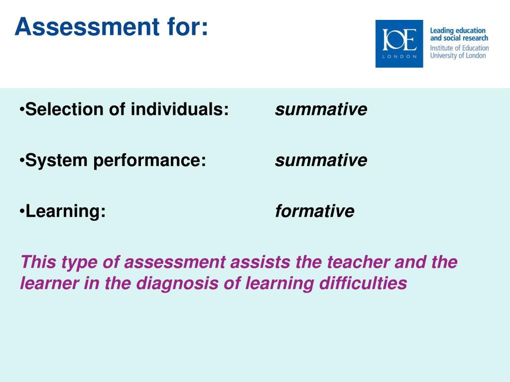Assessment for: