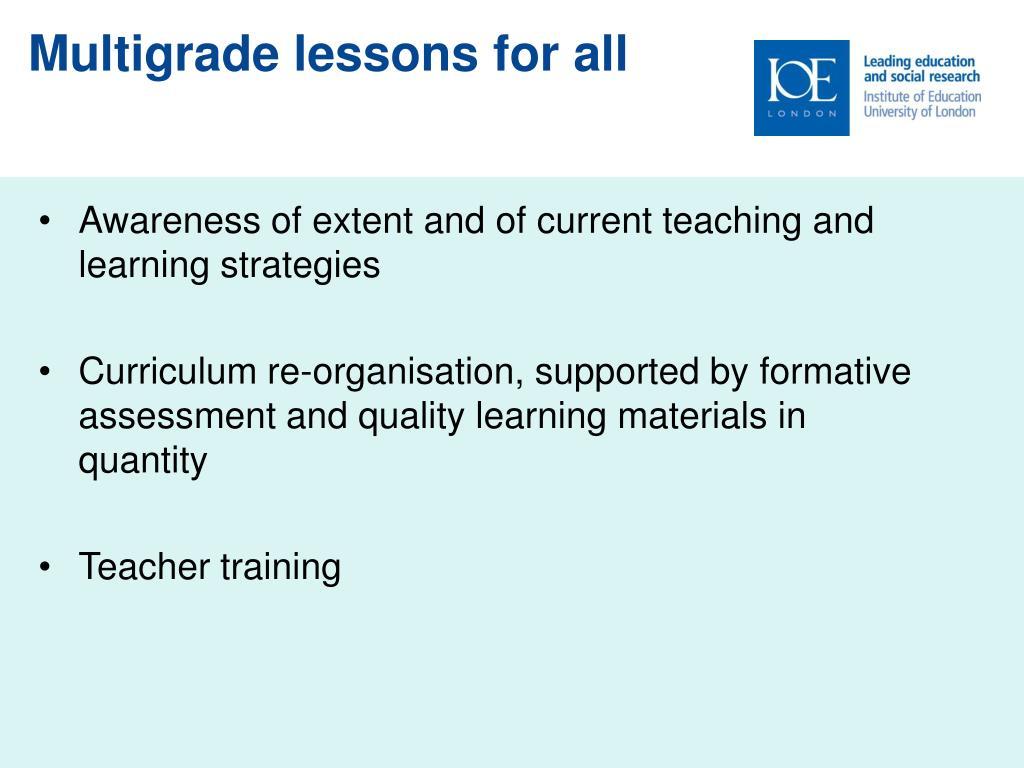Multigrade lessons for all