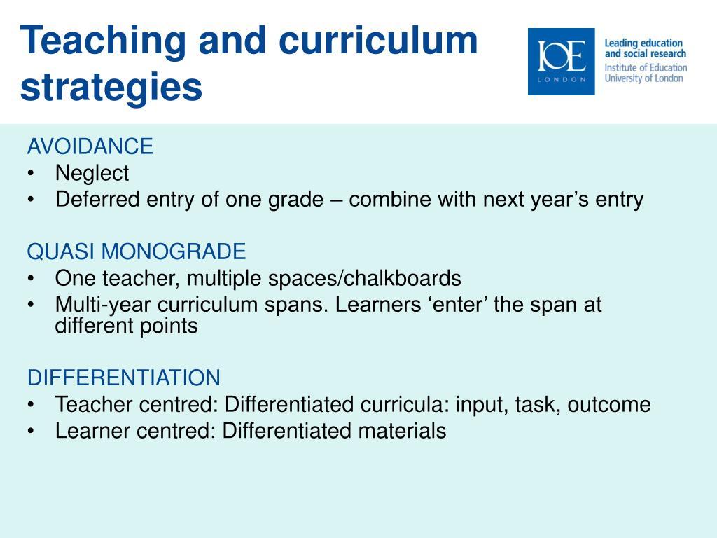 Teaching and curriculum strategies