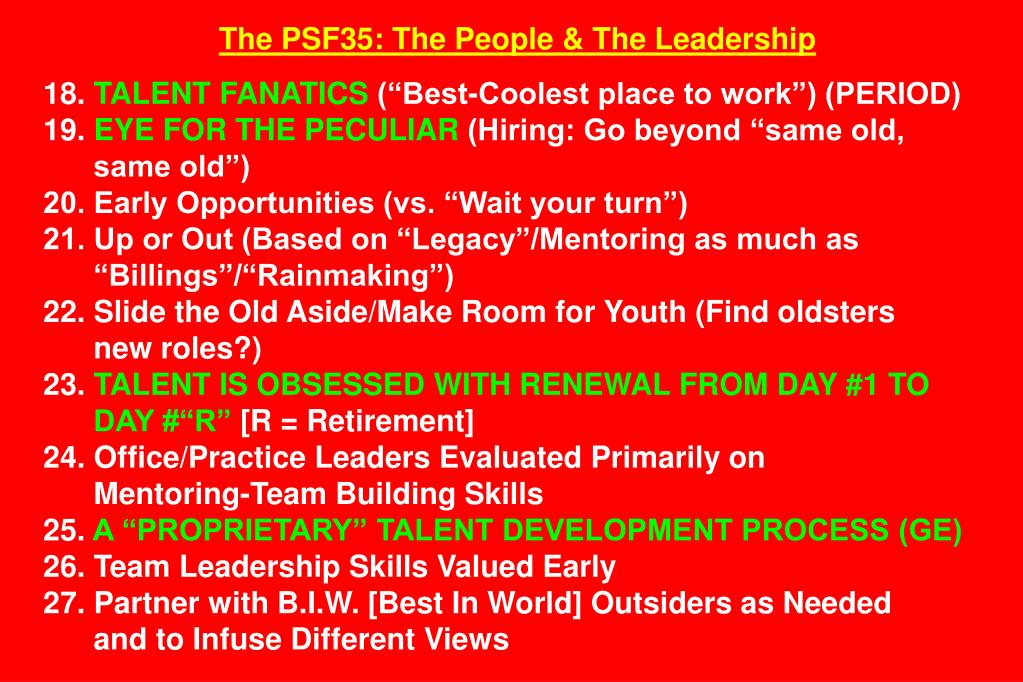 The PSF35: The People & The Leadership