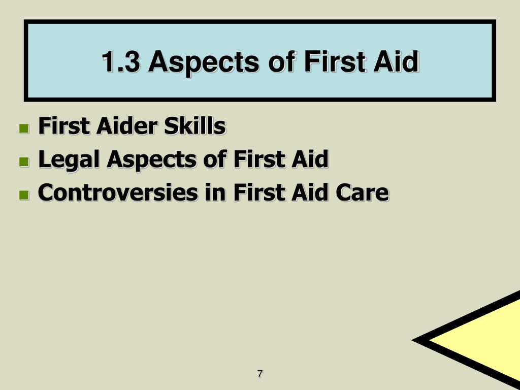 1.3 Aspects of First Aid