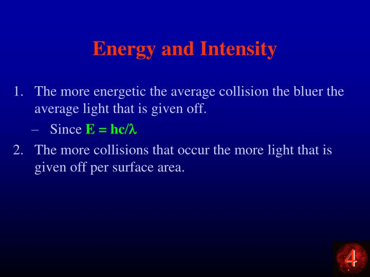 Energy and Intensity