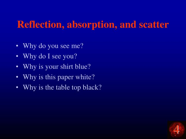 Reflection, absorption, and scatter