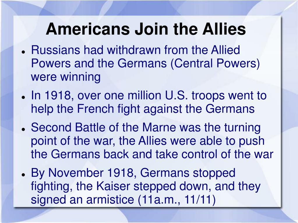 Americans Join the Allies