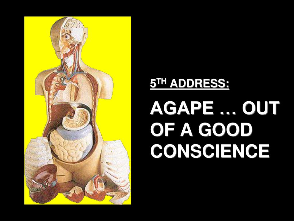 5 th address agape out of a good conscience l.