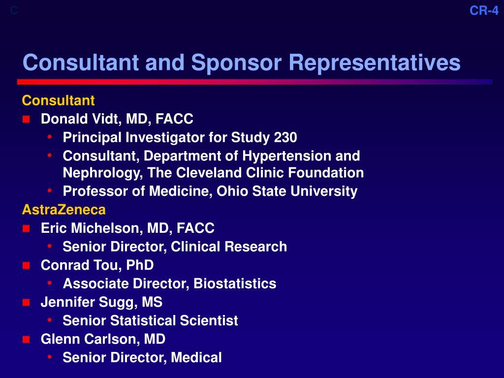 Consultant and Sponsor Representatives