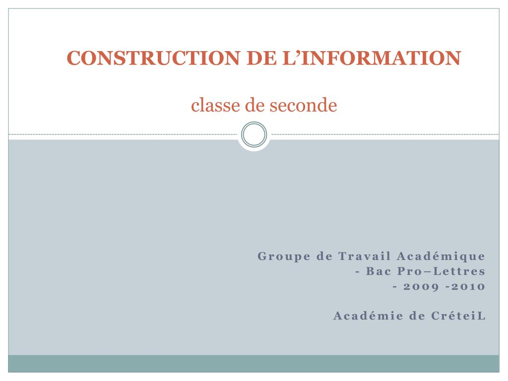 construction de l information classe de seconde l.