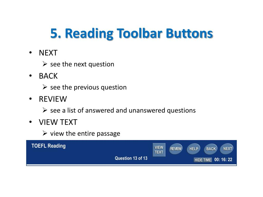5. Reading Toolbar Buttons