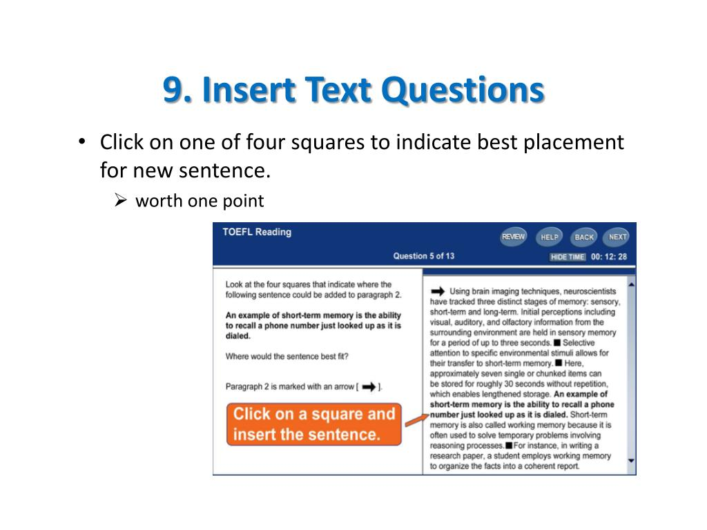9. Insert Text Questions