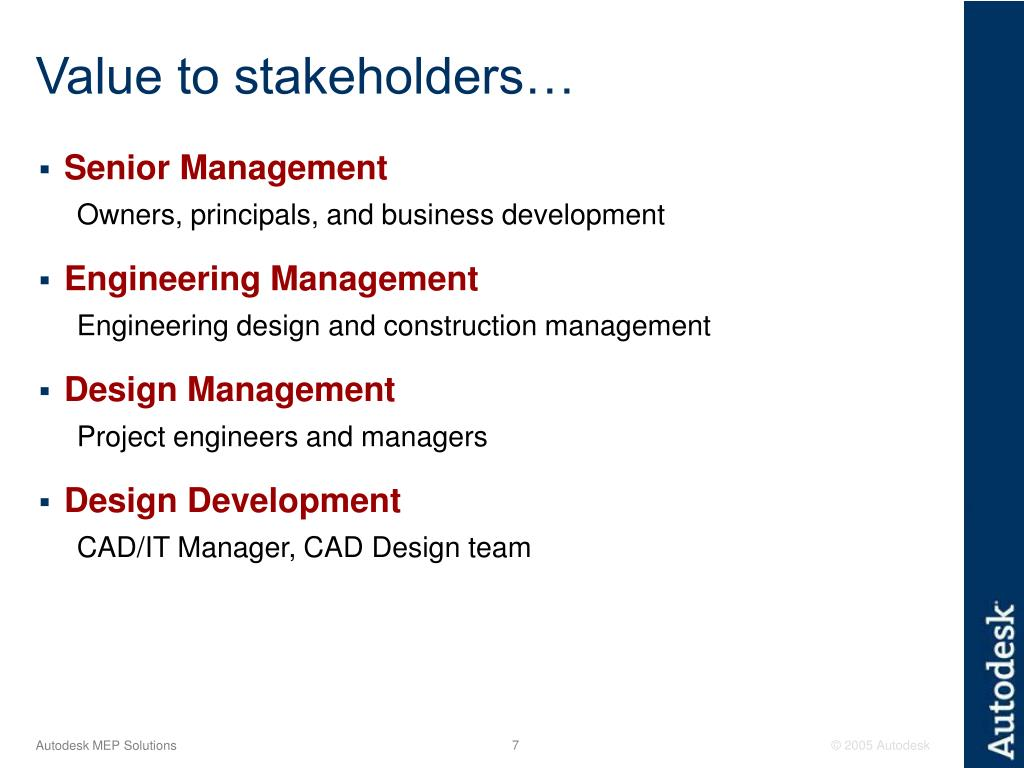 Value to stakeholders…