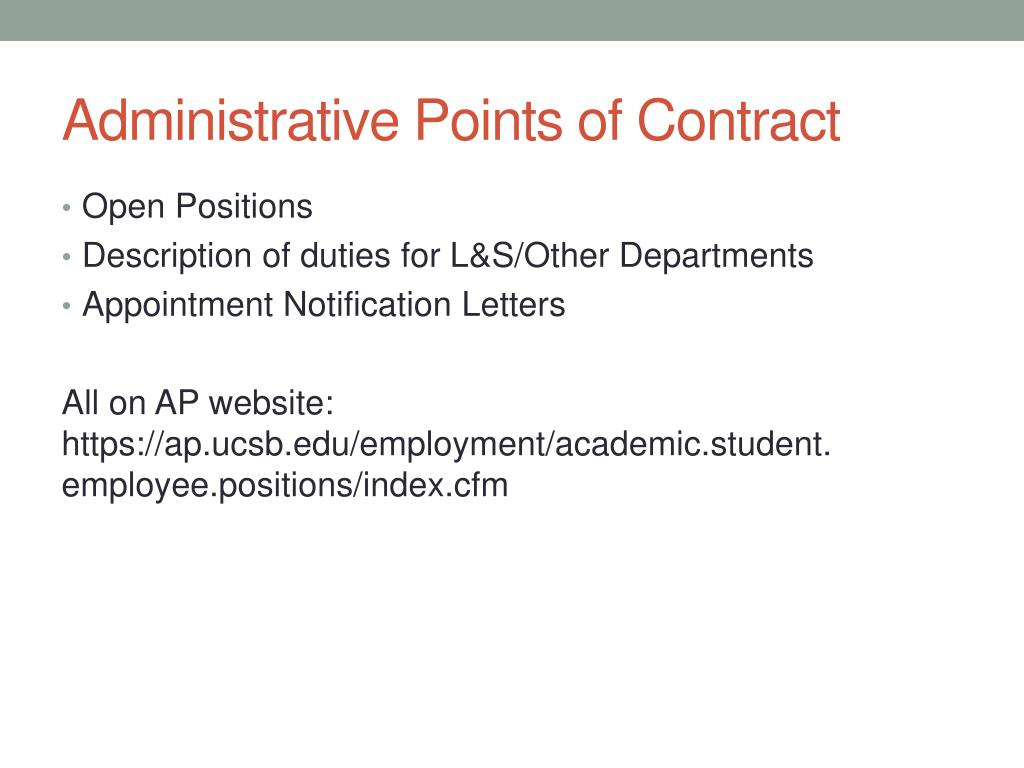 Administrative Points of Contract