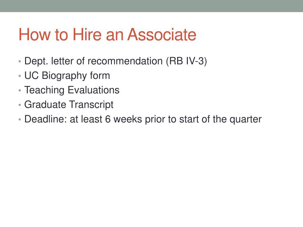 How to Hire an Associate