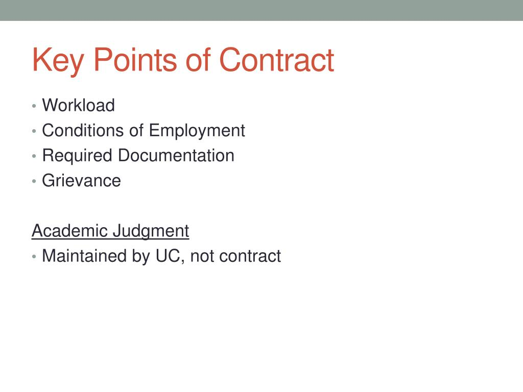 Key Points of Contract