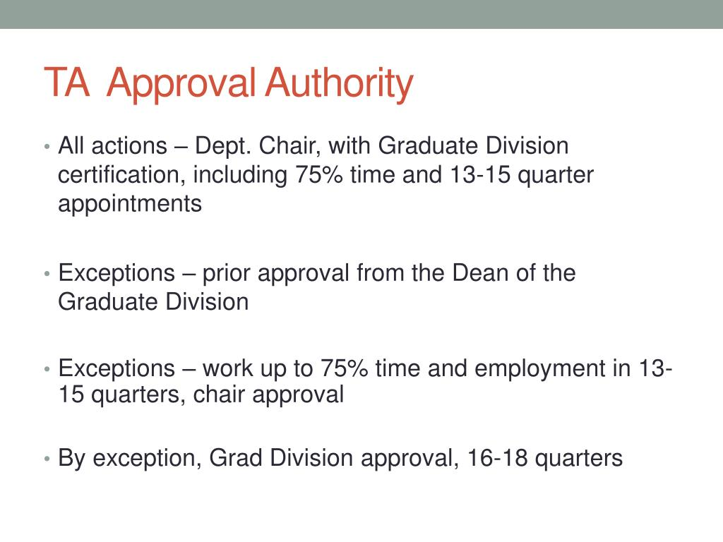 TA  Approval Authority