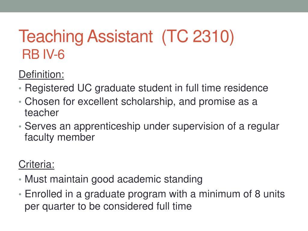 Teaching Assistant  (TC 2310)