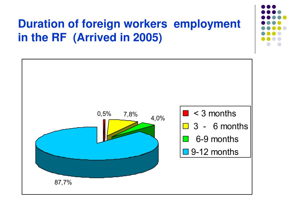 Duration of foreign workers  employment in the RF  (Arrived in 2005)