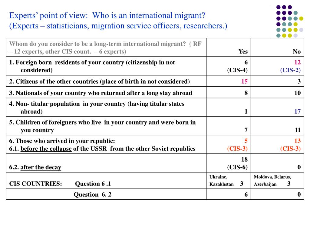 Experts' point of view:  Who is an international migrant?