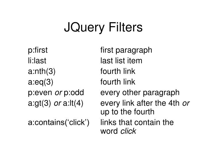 JQuery Filters