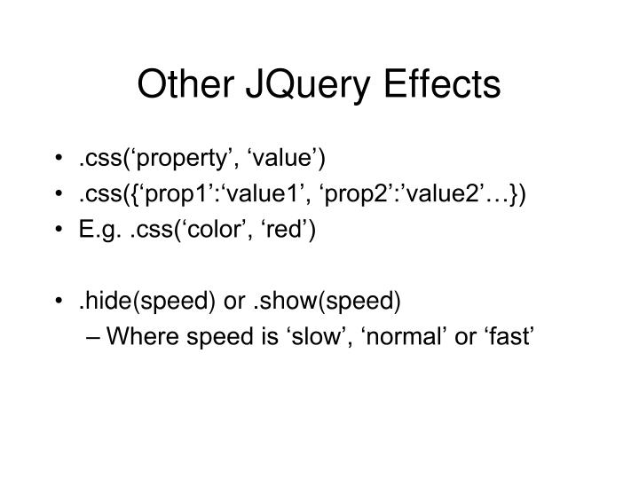 Other JQuery Effects