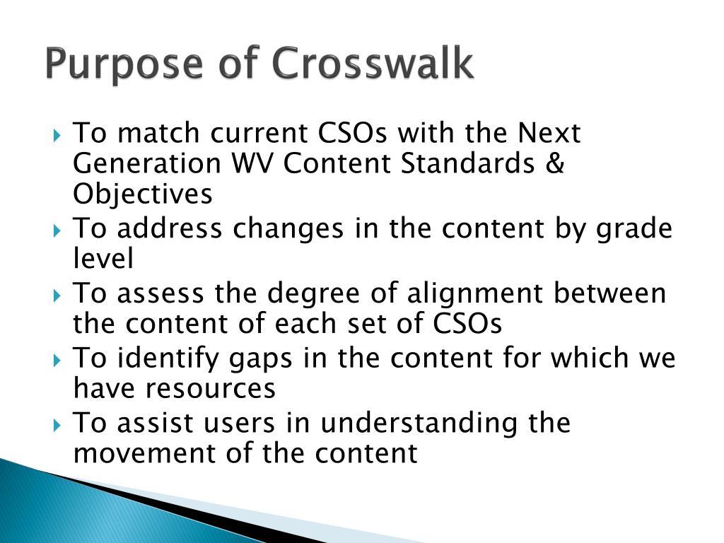 Purpose of Crosswalk