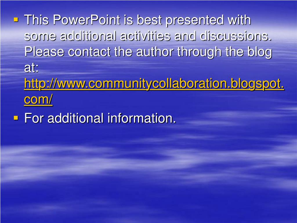 This PowerPoint is best presented with some additional activities and discussions. Please contact the author through the blog at:
