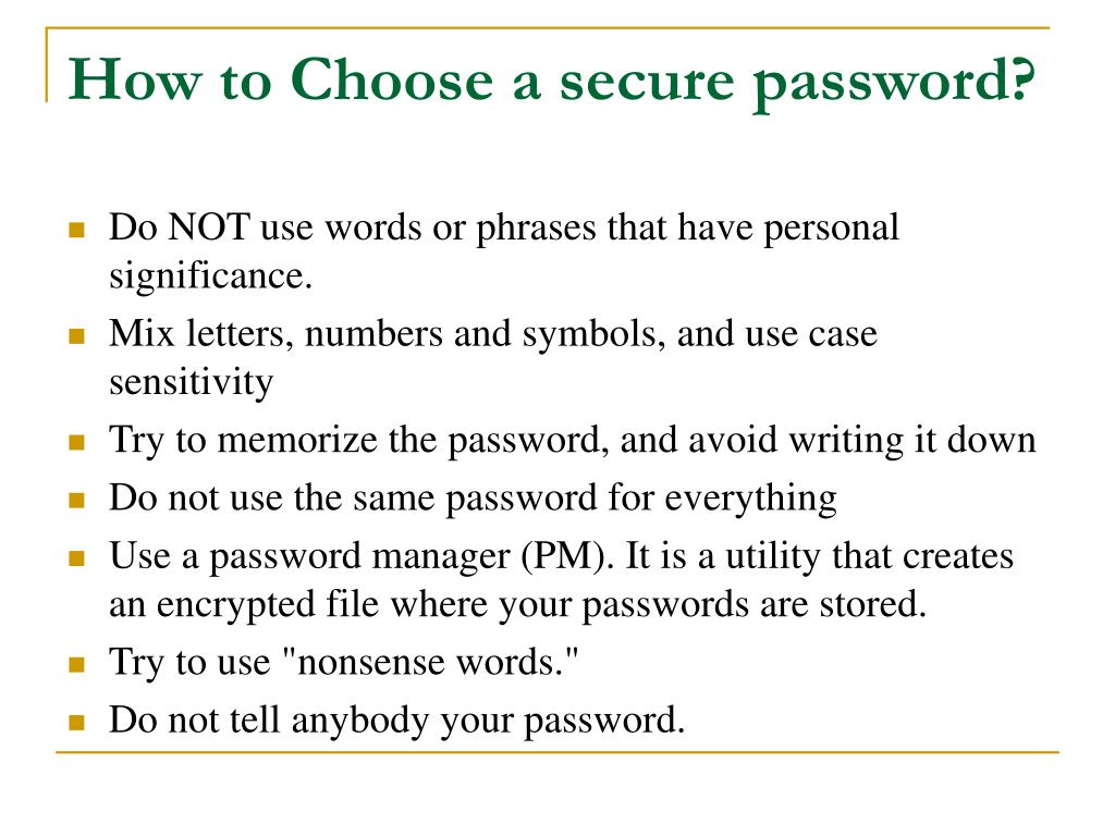 How to Choose a secure password?