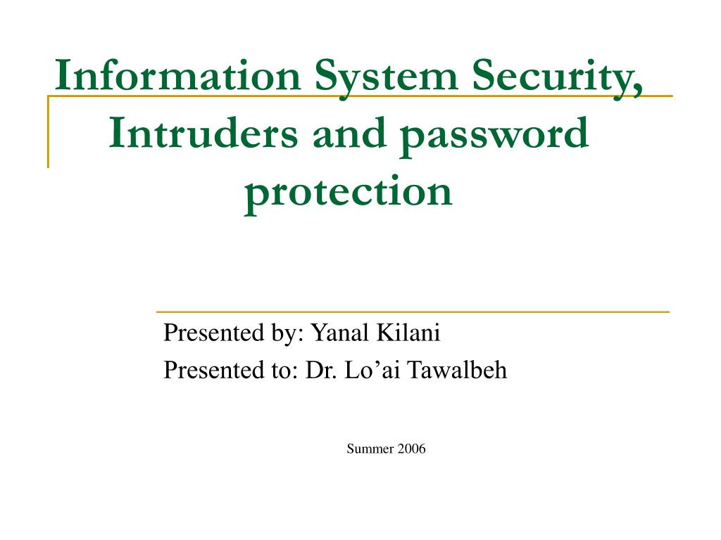 Information System Security,