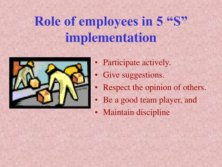 """Role of employees in 5 """"S"""" implementation"""