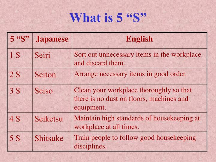 """What is 5 """"S"""""""