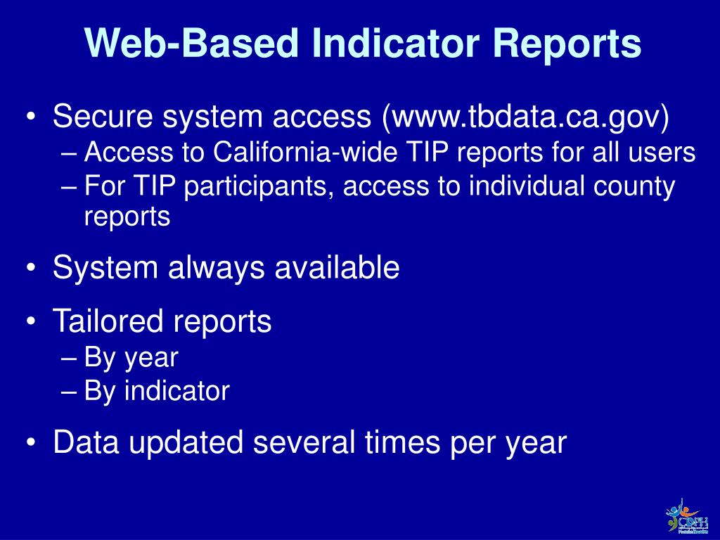 Web-Based Indicator Reports