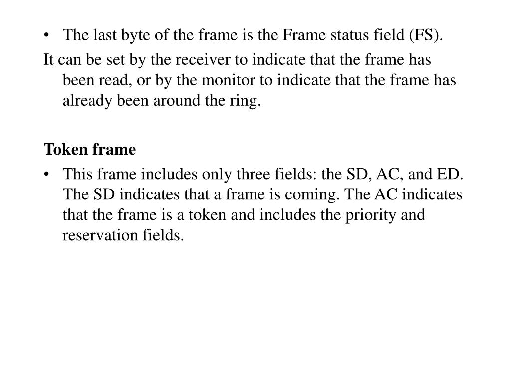 The last byte of the frame is the Frame status field (FS).