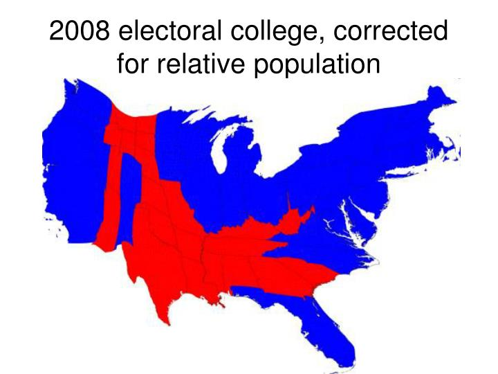 2008 electoral college, corrected for relative population