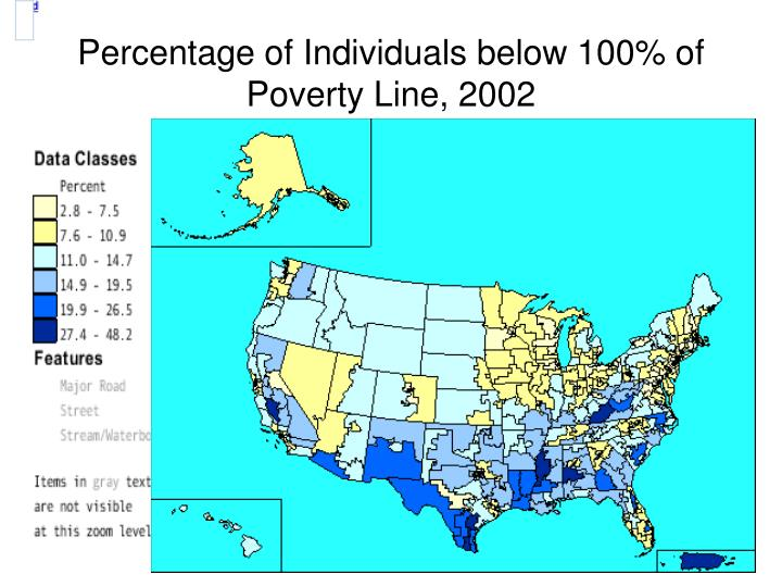 Percentage of Individuals below 100% of Poverty Line, 2002