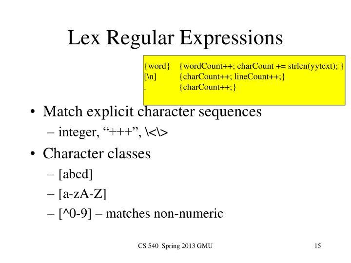 Lex Regular Expressions