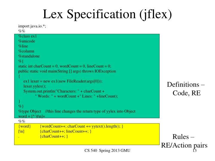 Lex Specification (jflex)