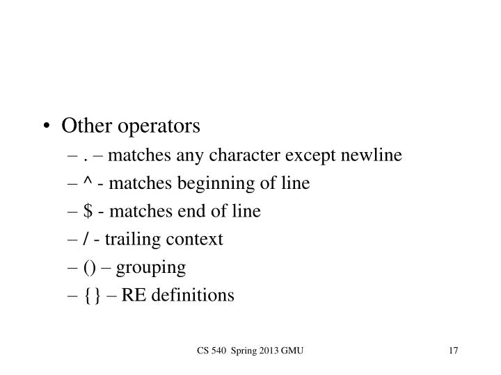 Other operators