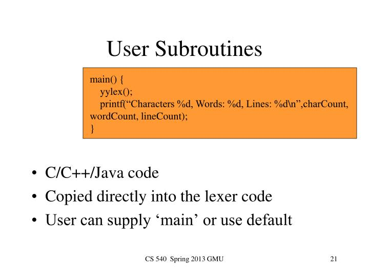 User Subroutines